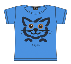 CAT HEAD BLUE T-SHIRT