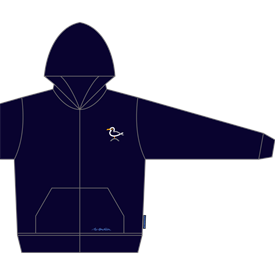 NAVY SWEATSHIRT WITH SEAGULL EMBROIDERY AND ZIPPER