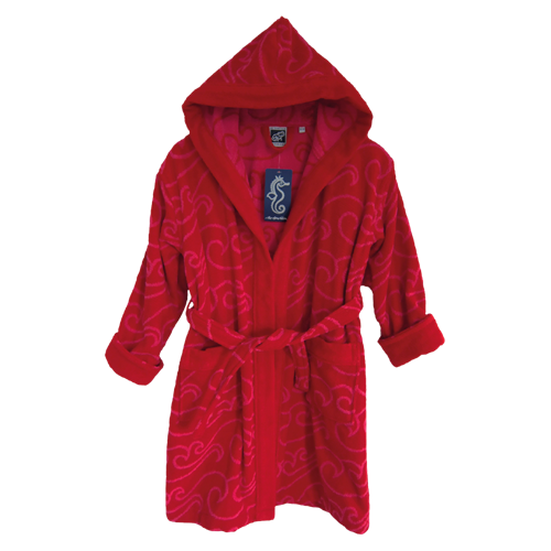 KIDS BATHROBE RED
