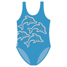 GIRLS SWIMSUIT - TURQUOISE/SILVER