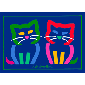 2 CATS NAVY POSTER  </BR> 70 x 50 cm