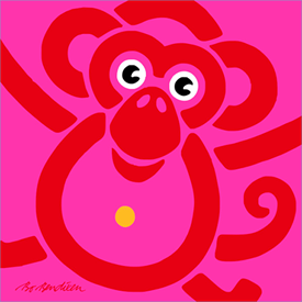 MONKEY RED POSTER </BR> 91 x 91 cm