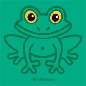 FROG GREEN POSTER</BR> 91 x 91 cm