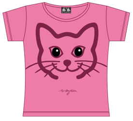CAT HEAD PINK T-SHIRT