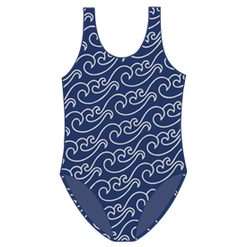 GIRLS SWIMSUIT - NAVY/SILVER