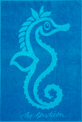 TOWEL SEAHORSE TURQUOISE </BR>100 x 150 cm