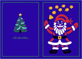 DOUBLE POSTCARD SANTA BLUE