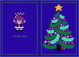 DOUBLE POSTCARD CHRISTMAS TREE BLUE