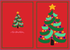 DOUBLE POSTCARD CHRISTMAS TREE RED