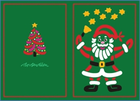 DOUBLE POSTCARD SANTA GREEN
