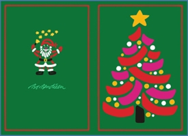 DOUBLE POSTCARD CHRISTMAS TREE GREEN