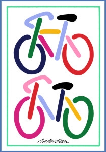 2 BICYCLES POSTCARD
