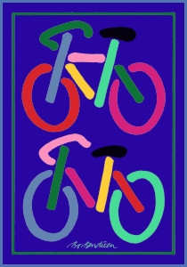 2 BICYCLES POSTCARD NAVY