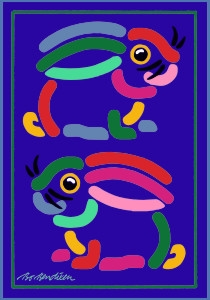 2 RABBITS POSTCARD NAVY