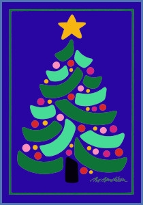 CHRISTMAS TREE POSTCARD NAVY