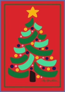 CHRISTMAS TREE POSTCARD RED