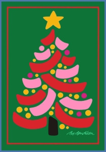 CHRISTMAS TREE POSTCARD GREEN